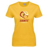 Ladies Gold T Shirt-Tennis Design
