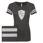 ENZA Ladies Black/White Vintage Triblend Football Tee-Primary Mark White Soft Glitter