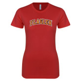 Next Level Ladies SoftStyle Junior Fitted Red Tee-Flagler Arched