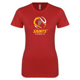 Next Level Ladies SoftStyle Junior Fitted Red Tee-Tennis Design