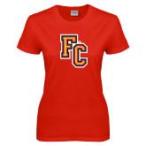 Ladies Red T Shirt-FC Logo