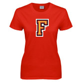 Ladies Red T Shirt-Letter F Logo