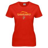Ladies Red T Shirt-Baseball Design