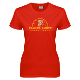 Ladies Red T Shirt-Volleyball Design