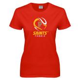 Ladies Red T Shirt-Tennis Design