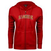 ENZA Ladies Red Fleece Full Zip Hoodie-Flagler Arched