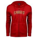 ENZA Ladies Red Fleece Full Zip Hoodie-Saints Arched