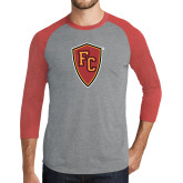 Grey/Red Heather Tri Blend Baseball Raglan-Secondary Mark