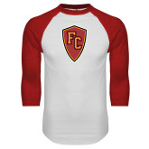 White/Red Raglan Baseball T Shirt-Secondary Mark