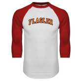 White/Red Raglan Baseball T Shirt-Flagler Arched