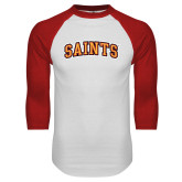 White/Red Raglan Baseball T Shirt-Saints Arched