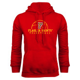 Red Fleece Hoodie-Volleyball Design