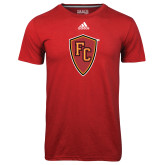 Adidas Climalite Red Ultimate Performance Tee-Secondary Mark