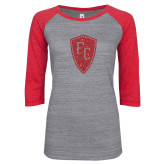 ENZA Ladies Athletic Heather/Red Vintage Triblend Baseball Tee-Primary Mark Red Glitter