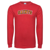Red Long Sleeve T Shirt-Saints Arched
