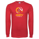 Red Long Sleeve T Shirt-Tennis Design