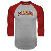 Grey/Red Raglan Baseball T Shirt-Flagler Arched