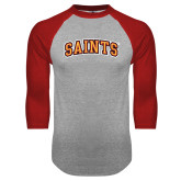Grey/Red Raglan Baseball T Shirt-Saints Arched