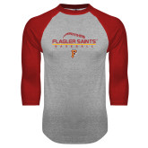Grey/Red Raglan Baseball T Shirt-Baseball Design