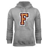 Grey Fleece Hoodie-Letter F Logo