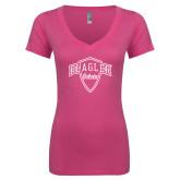 Next Level Ladies Junior Fit Ideal V Pink Tee-Primary Mark