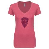 Next Level Ladies Vintage Pink Tri Blend V-Neck Tee-Primary Mark Hot Pink Glitter