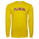 Gold Long Sleeve T Shirt-Flagler Arched