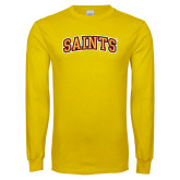 Gold Long Sleeve T Shirt-Saints Arched