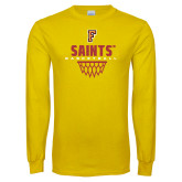 Gold Long Sleeve T Shirt-Basketball Design