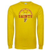 Gold Long Sleeve T Shirt-Soccer Design