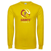 Gold Long Sleeve T Shirt-Tennis Design