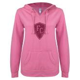ENZA Ladies Hot Pink V Notch Raw Edge Fleece Hoodie-Primary Mark Hot Pink Glitter