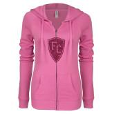 ENZA Ladies Hot Pink Light Weight Fleece Full Zip Hoodie-Primary Mark Hot Pink Glitter