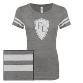 ENZA Ladies Dark Heather/White Vintage Triblend Football Tee-Primary Mark White Soft Glitter