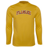 Performance Gold Longsleeve Shirt-Flagler Arched