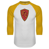 White/Gold Raglan Baseball T Shirt-Secondary Mark