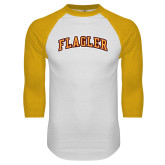 White/Gold Raglan Baseball T Shirt-Flagler Arched