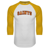 White/Gold Raglan Baseball T Shirt-Saints Arched