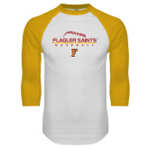 White/Gold Raglan Baseball T Shirt-Baseball Design