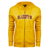 ENZA Ladies Gold Fleece Full Zip Hoodie-Saints Arched