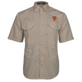 Khaki Short Sleeve Performance Fishing Shirt-Primary Mark