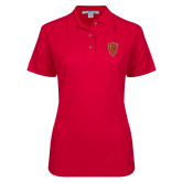 Ladies Easycare Red Pique Polo-Secondary Mark