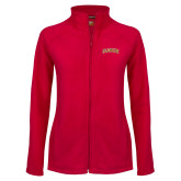 Ladies Fleece Full Zip Red Jacket-Flagler Arched