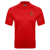 Red Textured Saddle Shoulder Polo-Secondary Mark