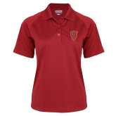 Ladies Red Textured Saddle Shoulder Polo-Secondary Mark