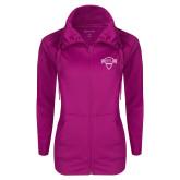 Ladies Sport Wick Stretch Full Zip Deep Berry Jacket-Primary Mark