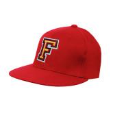 Red OttoFlex Flat Bill Pro Style Hat-Letter F Logo