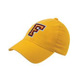 Gold OttoFlex Unstructured Low Profile Hat-Letter F Logo