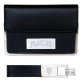 Business Card Case and Key Ring Set Black-Flagler Arched Engraved