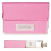 Business Card Case and Key Ring Set Pink-Flagler Arched Engraved